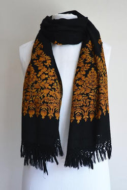 Gold Embroidered Wool Shawl