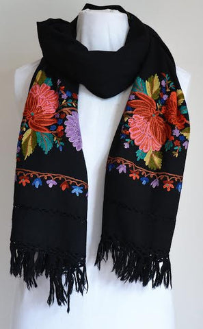 Multi-Color Embroidered Black Shawl