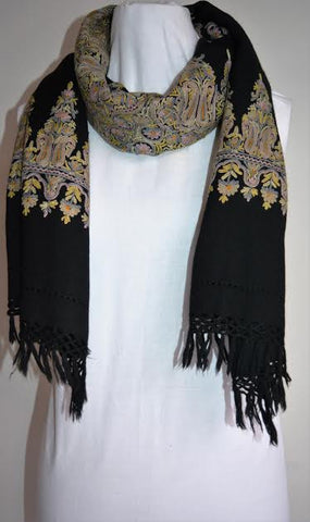 Classic Multi-Color Black Wool Shawl