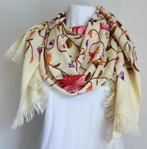 Multi-Color Floral Embroidered Wool Shawl