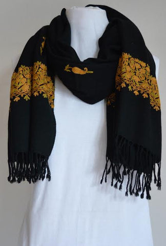 Black on Gold Embroidered Wool Shawl