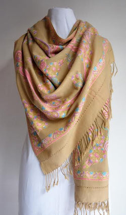 Pastel Wool Embroidered Shawl