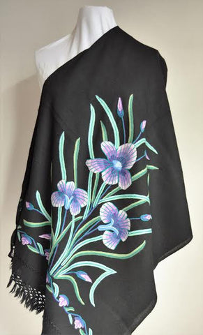 Hawaii Floral Embroidered Wool Shawl