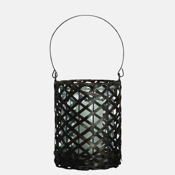 "Woven Wood & Glass ""Mandy"" Lantern"