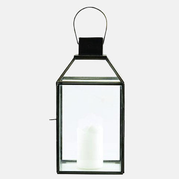 "Black Antique Glass & Metal Pendant ""Roof"" Lantern"