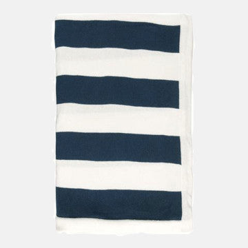 Blue & White Striped Natural Cotton Throw