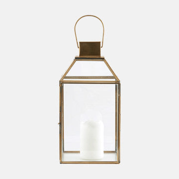 "Brass Glass & Metal Pendant ""Roof"" Lantern"
