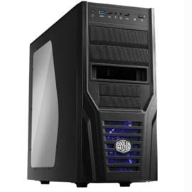 CoolerMaster Case RC-431P-KWN2 ELITE 431 PLUS Mid Tower 3-2-(5) Bay USB Audio Black-Black Interior LED Blue No Power Supply ATX