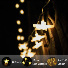 Lecone Star Lights String, Battery Powered Star Decorations, 20 leds Warm White Decorative Stars for Wedding, Birthday, Halloween, Xmas, Baby Rooms, Indoor or Outdoor,3m/10ft (UPC:659514280943)