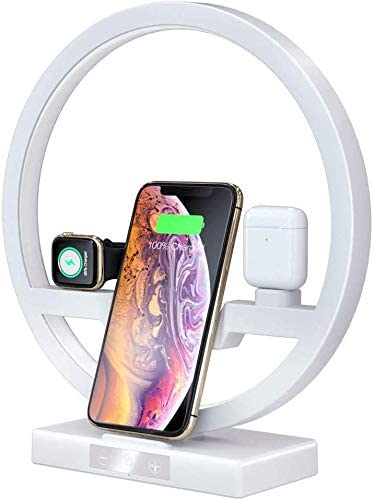 Lecone Wireless Charger Station Charging Stand Dock with LED Desk Lamp for Apple Watch iWatch Series 5 4 3 2 1 Airpods iPhone 11 Pro 11/XS XR,Galaxy S10 S9 Max 8 and Qi Enabled Phones