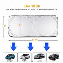 Lecone Windshield Snow & Ice & Sun Cover, Universal Vehicle Sunshades Heat Sunlight Blocker and UV Reflector to Keep Car Cool Interior Protection(Standard)