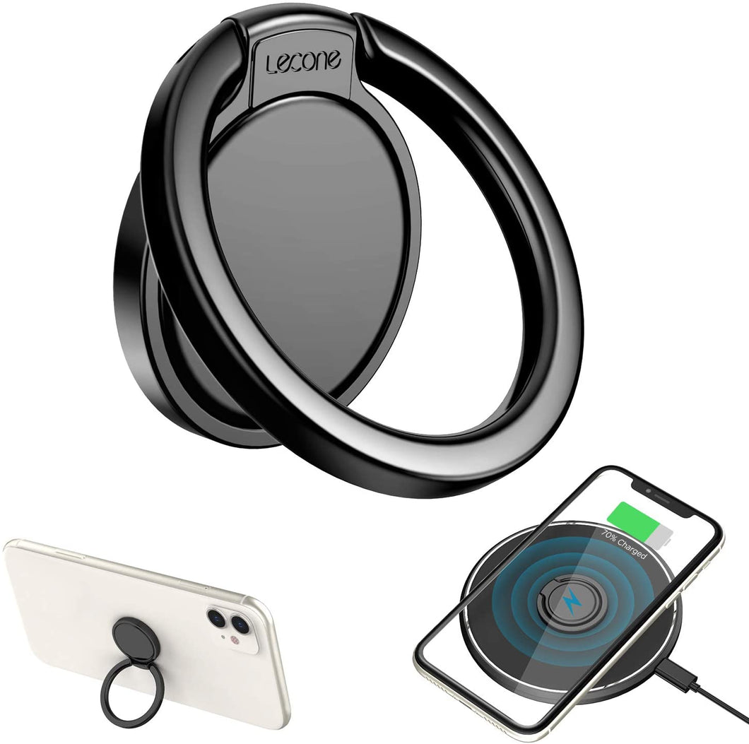 Lecone Ultra Thin Phone Ring Holder, Wireless Charger Friendly Finger Ring Kickstand 360° Rotation Anti-Scratch Ceramic Ring Grip for iPhone SE/11/Xs MAX/XR/XS/X/8, Samsung S20/S10/S9/S8/Note 10