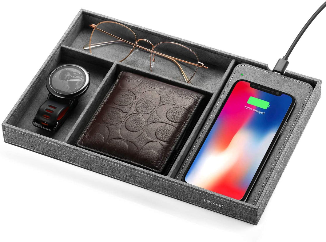 Lecone Fast Wireless Charger with Organizer Tray Qi Fabric Charging Station Table Nightstand Organizer for iPhone11/11 Pro Max/XS Max/XR/XS, 10W for Samsung Galaxy S10/S9/S9+/S8/Note 10 /Note 9, Grey