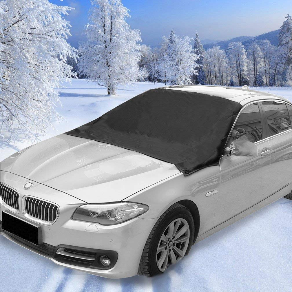 "Lecone Magnetic Windshield Snow Cover, Exterior Ice Removal Rain Frost Dust Wiper Visor Protector Sun Shade Full Protection for Car Truck Van SUV Universal Fit (78"" x 50"")"