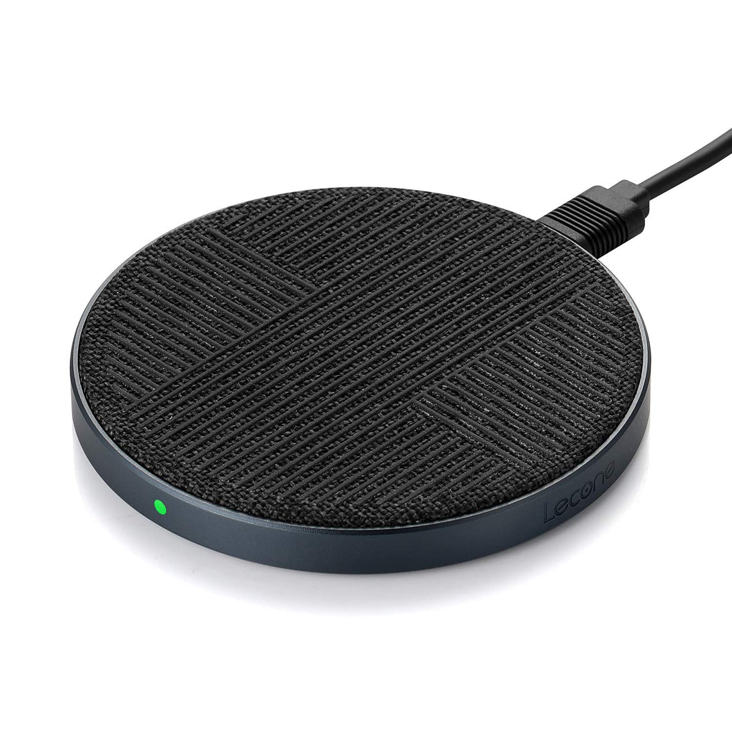 Lecone 10W Fast Wireless Charger Qi Certified Premium Fabric Wireless Charging Pad Compatible with iPhone 11/Xs MAX/XR/XS/X/8/,10W Fast-Charging Samsung Galaxy S10/S9/S9+/S8/S8+/Note 10, Black