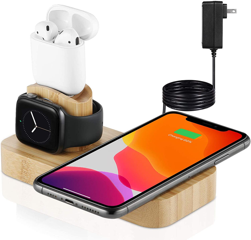 Veelink Bamboo Wireless Charger, 4 in 1 Qi-Certified Wireless Charging Station Compatible for AirPods Pro Apple Watch, Fast Wireless Charging Stand Dock