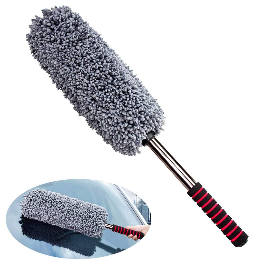 Lecone Multipurpose Extendable Duster, Microfiber Duster with Long Unbreakable Handle, Lint Free Vehicle Cleaning Kit for Interior & Exterior Use