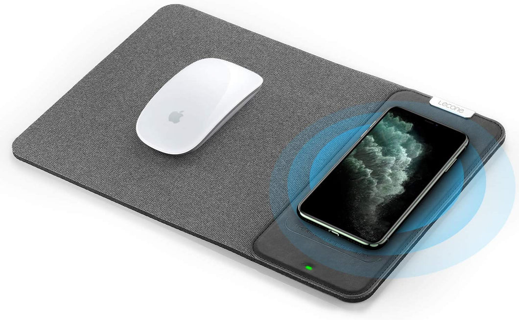 Lecone Wireless Charger Mouse Pad, 10W Fast Wireless Charging Pad QI Wireless 2 in 1 Foldable Mouse Pad for Samsung Galaxy S10/S9/S8 Plus Note 10/9/8 iPhone 11 Pro/Xs Max/XR/X/XS/8/8 Plus