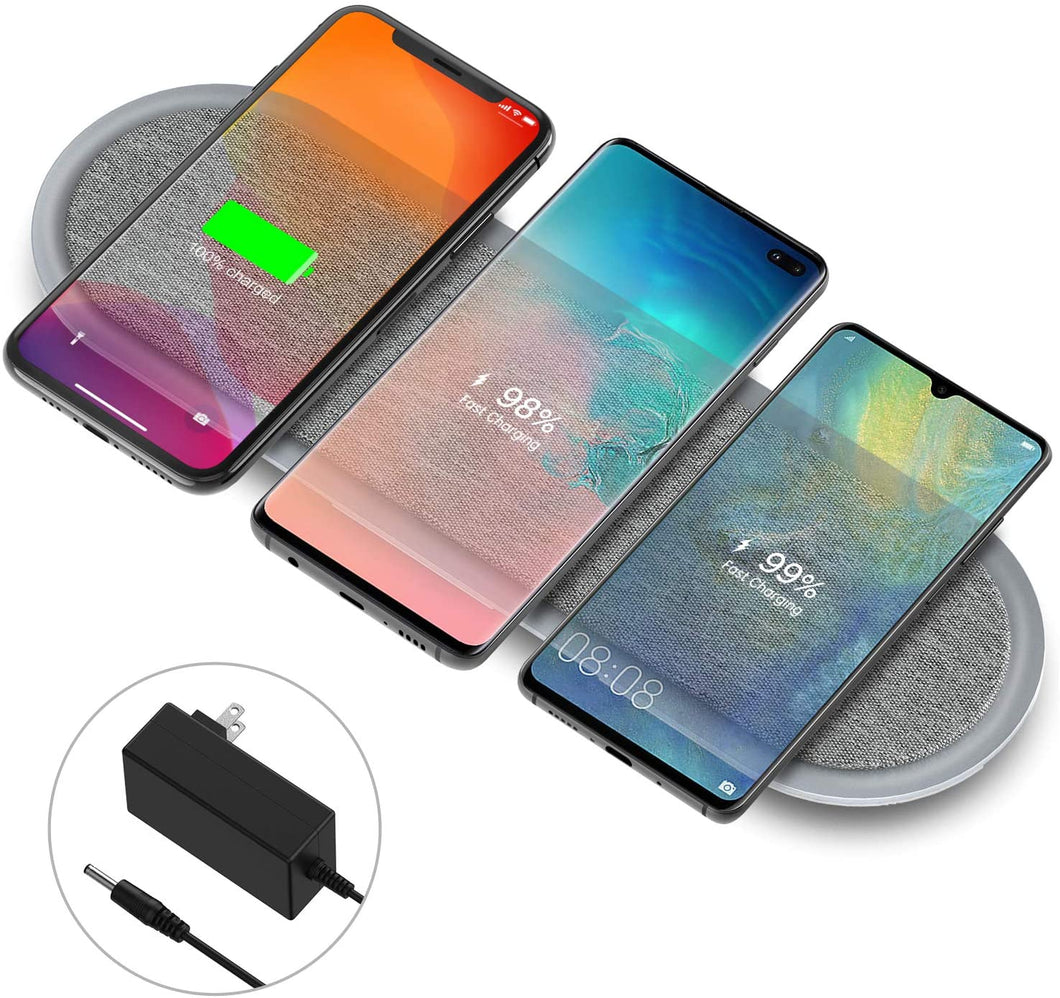 Wireless Charging Pad, Lecone Qi Certified Fabric Triple Wireless Charger with Two USB Ports for iPhone 11/11 Pro/11 Pro Max/XS Max/X, Samsung Galaxy Note 10/S20/S20+/S10 (Adapter Included)