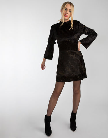Black Velvet High Neck Dress