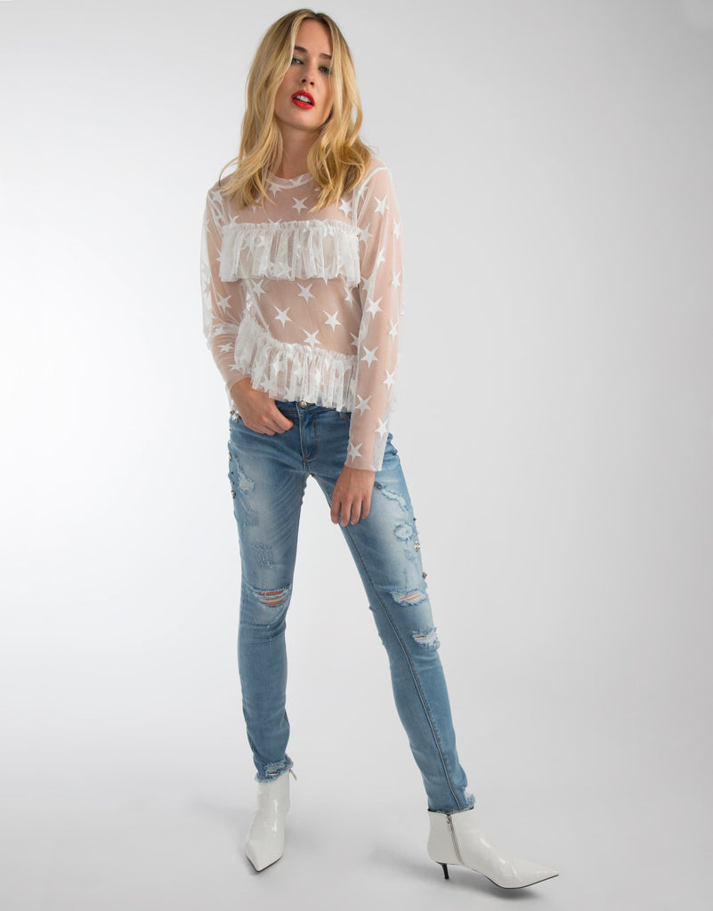 Mesh Star Frill Top