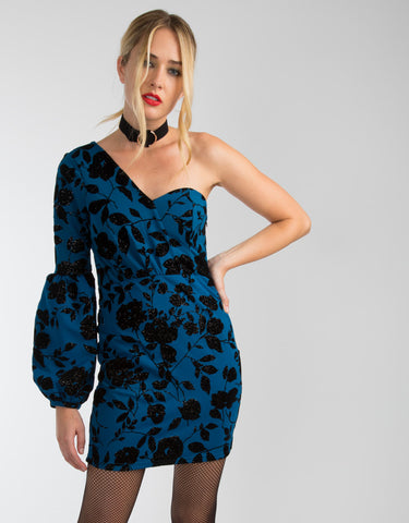 One Shoulder Puff Sleeve Mini Dress