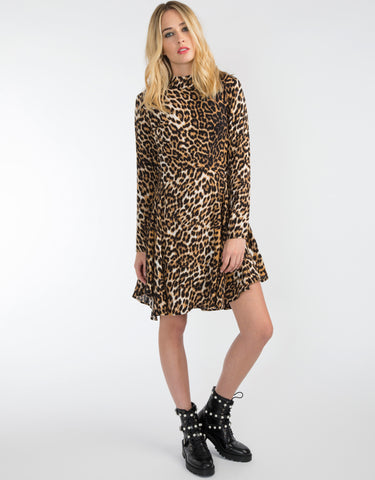Long sleeved leopard print dress