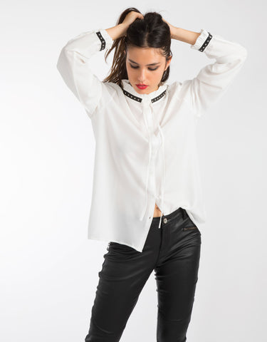 Neck Trim Detail Blouse