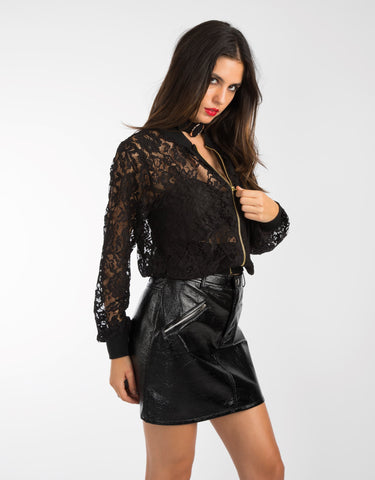 Vinyl Zip Mini Skirt