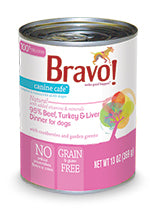 (Case of 12) Bravo! Canine Cafe 95% Beef, Turkey & Liver Dinner Canned Dog Food, 13-oz Each