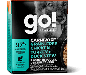 Petcurean GO! CARNIVORE Grain Free Chicken, Turkey + Duck Stew Dog Wet Food