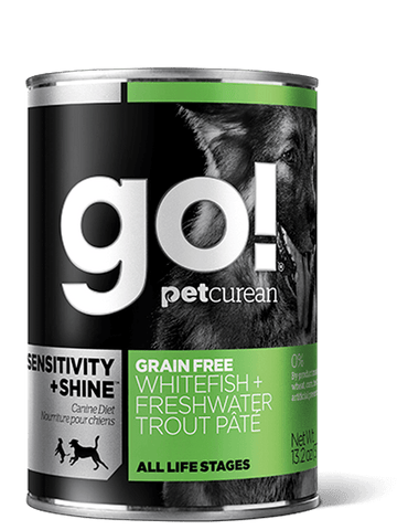 Petcurean GO! SENSITIVITY + SHINE Grain Free Whitefish + Freshwater Trout Pâté Wet Dog Food