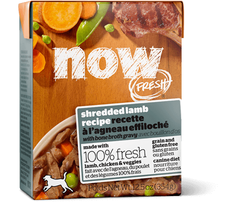 Petcurean NOW FRESH Grain Free Shredded Lamb recipe with bone broth gravy Dog Wet Food