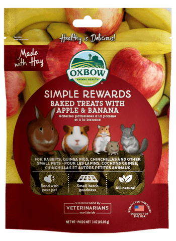 Oxbow Simple Rewards - Baked Treats with Apple & Banana For Small Animals
