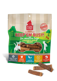 Plato Keep'Em Busy Chicken & Apple Meat Sticks for Smaller Toys