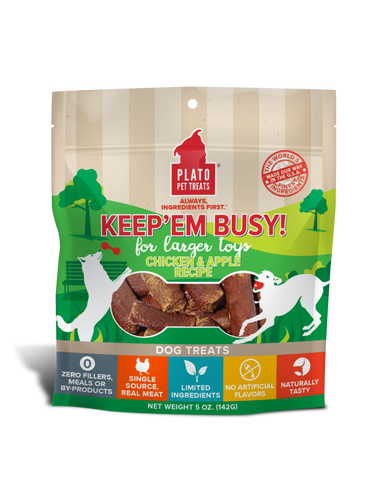 Plato Keep'Em Busy Chicken & Apple Meat Sticks for Larger Toys