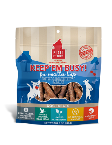 Plato Keep'Em Busy Duck & Blueberry Meat Sticks for Smaller Toys