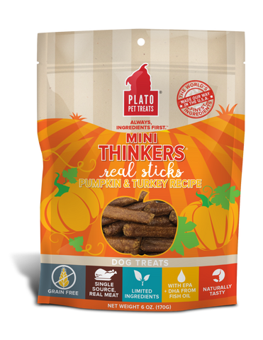 Plato Mini Thinkers Grain Free Pumpkin & Turkey Meat Stick Dog Treats