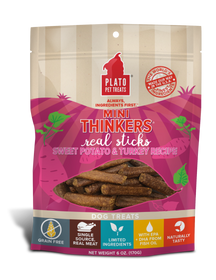 Plato Mini Thinkers Grain Free Sweet Potato & Turkey Meat Stick Dog Treats