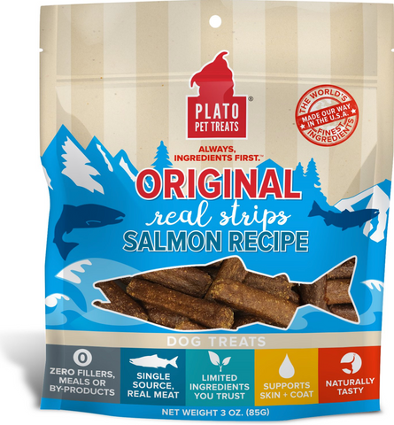 Plato Original Real Strips Salmon Dog Treats