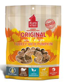 Plato Real Strips Turkey With Pumpkin Meat Bar Dog Treats