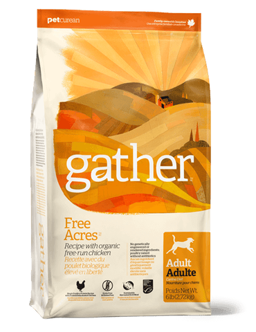 Petcurean GATHER Free Acres ORGANIC FREE-RUN chicken ADULT DOG Food Made with Certified Organic Free-Run Chicken