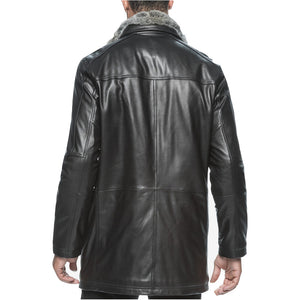 Faux Fur Collar Men Leather Coat