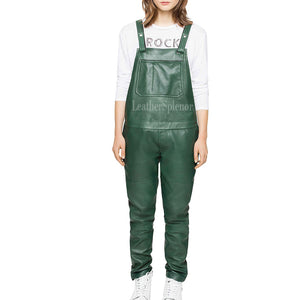 Green Leather Jumpsuit For Women