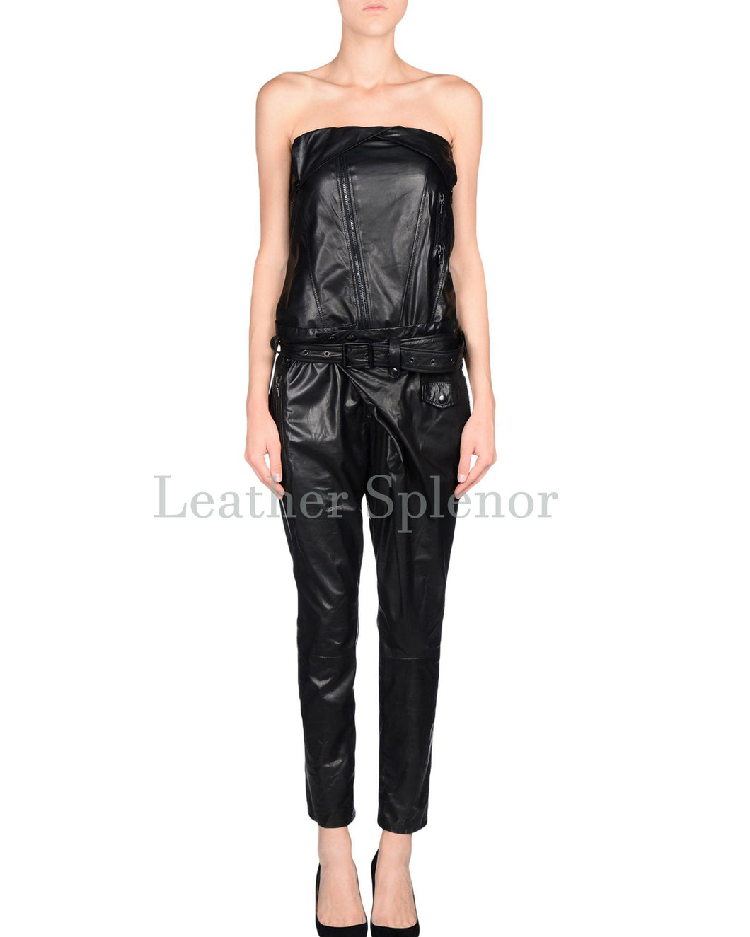 Strapless Styled Women Leather Jumpsuit