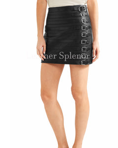 Belted Details Women Mini Leather Skirt
