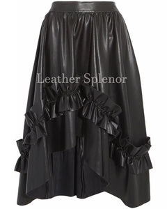 Gathered Detail Women Hi-Low Leather Skirt
