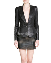 Corporate Single Button Women Leather Blazer