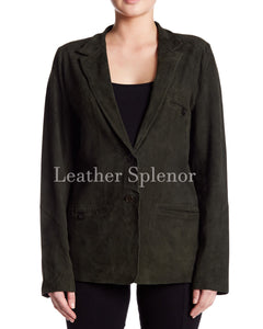 Notch Collar Women Suede Leather Blazer