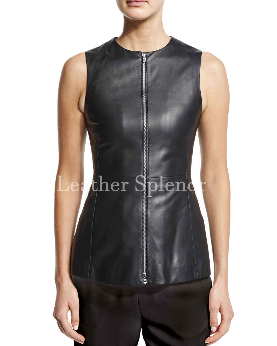 Corporate Style Classic Women Leather Top